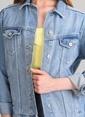 Agenda Nakış Ve Taş Detaylı Jean Ceket Mavi